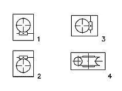 Варианты расположения червячной пары редукторов 2Ч