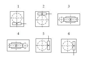 Варианты расположения червячной пары редукторов типа 1Ч