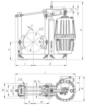 Установочные размеры тормозов ТКГ