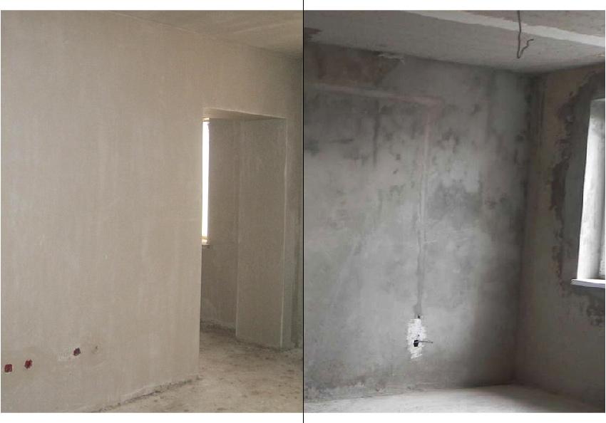 Слева: белая гипсовая штукатурка. Справа: серая цементная штукатурка.