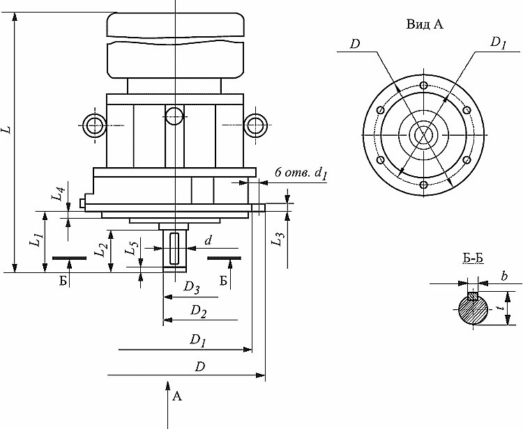 Габаритные и присоединительные размеры мотор-редукторв МПО-1М