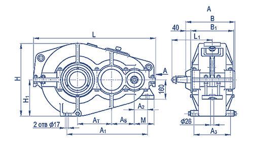 Установочные размеры редукторов ГПШ