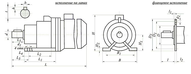 Габаритные и установочные размеры мотор-редукторов МВз