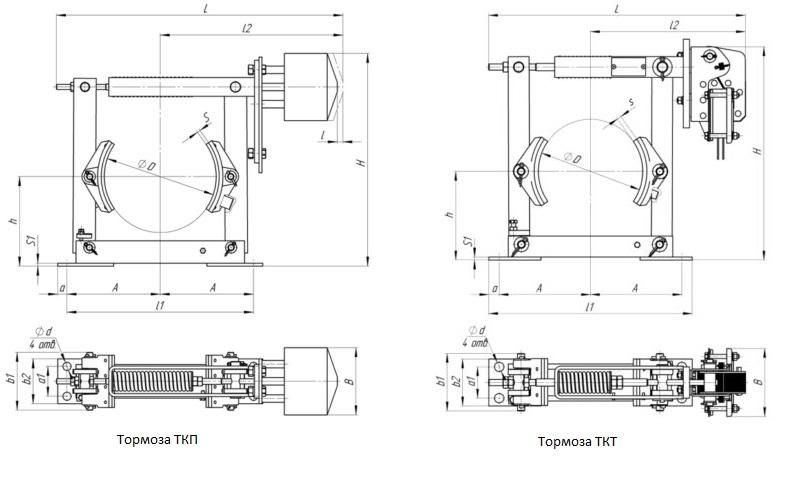 Установочные размеры тормозов ТКП и ТКТ