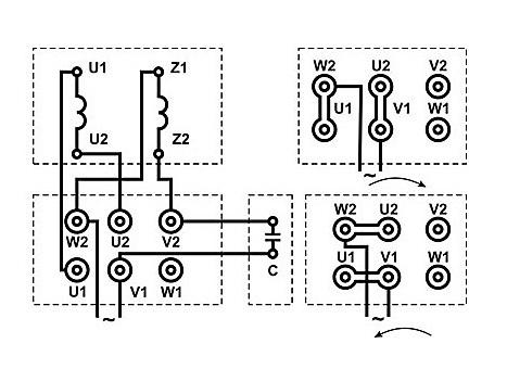 Схема подключения однофазного электродвигателя АИРЕ и 5АИЕ