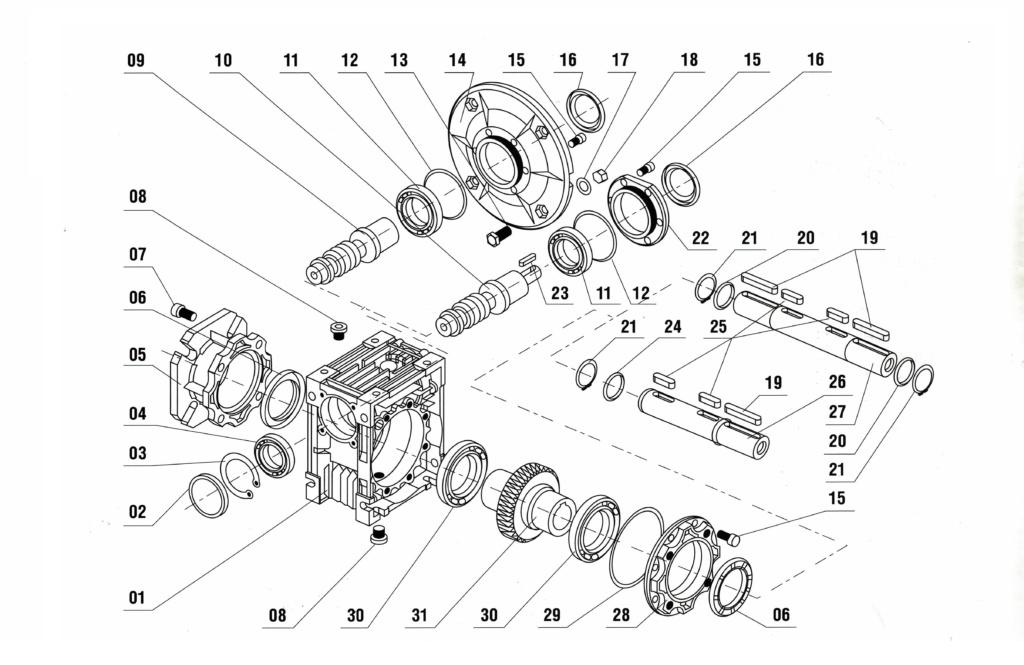 Конструкция редуктора NRW, NMRW