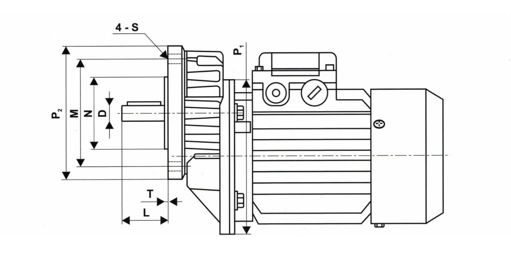 Установочные размеры приставки PCRW(PCRV)