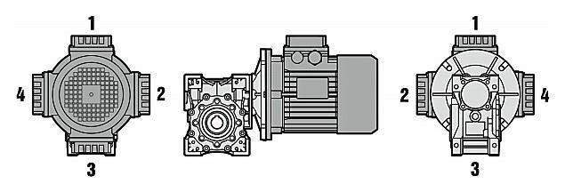 Варианты расположения клемной коробки электродвигателя nmrw