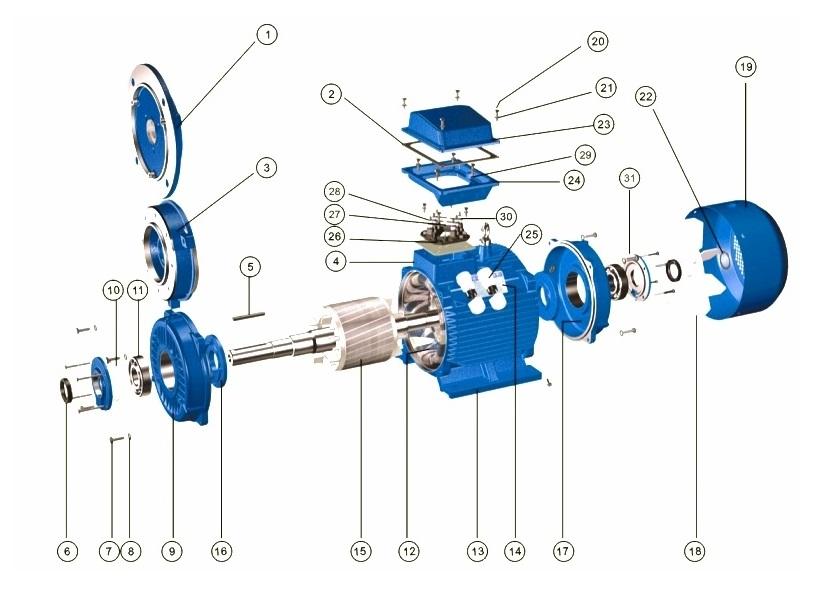 Конструкция асинхронных электродвигателей серий АИР, 5АИ, 5АМ, А, АД, АДМ